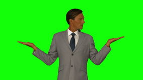 Бизнесмен показывая что-то с его руками акции видеоматериалы