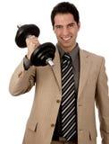 Бизнесмен поднимая гантель Стоковое Изображение RF