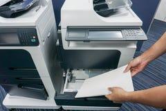 Бизнесмен положил бумажный лист в поднос принтера Стоковые Фотографии RF
