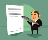 Бизнесмен подписывает подряд Бесплатная Иллюстрация