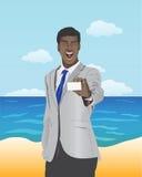 Бизнесмен представляя белую карточку Стоковая Фотография