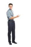 Бизнесмен представляя ваш текст Стоковое фото RF