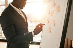 Бизнесмен представляя его идеи на белой доске Стоковое Изображение
