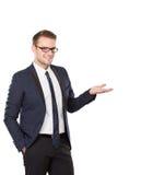 Бизнесмен представляя жест рукой стоковые фото