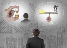 Бизнесмен представляя ситуацию работы с бетонной стеной doodles Стоковые Фото
