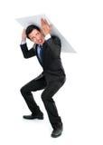 Бизнесмен представляя для схематического фото Стоковое фото RF