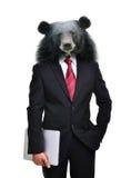 Бизнесмен при животная изолированная голова стоковые фото