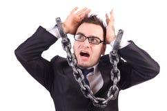 Бизнесмен при изолированная цепь Стоковая Фотография
