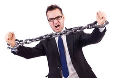 Бизнесмен при изолированная цепь Стоковые Изображения