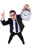 Бизнесмен при изолированные часы Стоковое фото RF