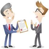Бизнесмен при доска сзажимом для бумаги хотеть подпись Стоковые Изображения RF