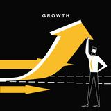 Бизнесмен при стрелка роста идя вверх бесплатная иллюстрация