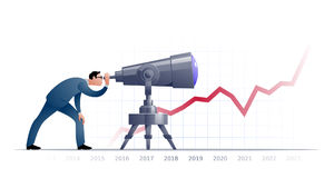 Бизнесмен при телескоп explorating будущее Стоковые Изображения RF