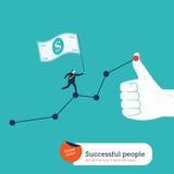 Бизнесмен при флаг 100 долларов идя вверх диаграмма и я любит рука Стоковые Фото