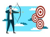 Бизнесмен пробуя ударить иллюстрацию вектора цели стоковые изображения