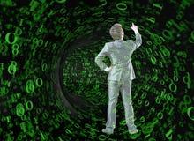 Бизнесмен против воронки сделанной из двоичных чисел Стоковые Изображения