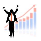 Бизнесмен против экономического план-графика с потерей сметливости предпосылки Стоковая Фотография RF
