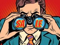 Бизнесмен продажи смотря через бинокли иллюстрация вектора
