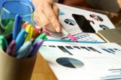 Бизнесмен работая и анализируя финансовые диаграммы на диаграммы на компьтер-книжке Стоковые Фото