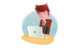 Бизнесмен работая на компьютере Стоковое Фото