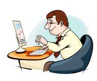 Бизнесмен работая на компьютере Стоковое фото RF