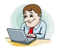 Бизнесмен работая на компьютере Стоковая Фотография RF