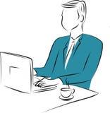 Бизнесмен работая на компьютере Стоковые Изображения