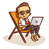 Бизнесмен работая с компьютером на пляже иллюстрация штока