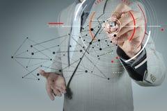 Бизнесмен работая с новой современной сетью social компьютерной выставки иллюстрация вектора