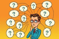 Бизнесмен разрешает проблему, вопросы и отражения иллюстрация штока