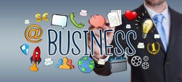 Бизнесмен рисуя нарисованное вручную представление дела Стоковое Фото