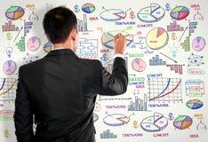 Бизнесмен рисуя современную концепцию дела на белизне стоковая фотография rf