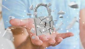 Бизнесмен рубя в сломленном переводе безопасностью 3D padlock Стоковые Фото