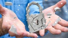 Бизнесмен рубя в сломленном переводе безопасностью 3D padlock Стоковая Фотография