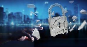 Бизнесмен рубя в сломленном переводе безопасностью 3D padlock Стоковые Фотографии RF