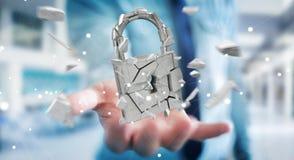 Бизнесмен рубя в сломленном переводе безопасностью 3D padlock Стоковое Фото