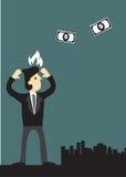 Бизнесмен сердитый на иллюстрации летая вектора денег отсутствующей Стоковая Фотография