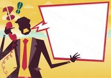 Бизнесмен сердит на телефоне с большим пузырем речи иллюстрация штока