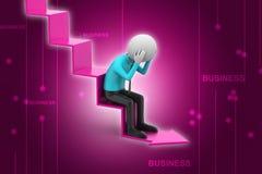 Бизнесмен сидит на стрелке нервного расстройства Стоковая Фотография RF