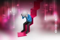 Бизнесмен сидит на стрелке нервного расстройства Стоковое Изображение