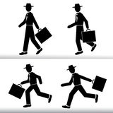 Бизнесмен силуэта идя и бежать Люди нося шляпу с чемоданом в руке - комплекте вектора Стоковые Изображения