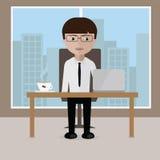 Бизнесмен сидя на его столе офиса с открытой компьтер-книжкой иллюстрация вектора