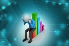 Бизнесмен сидя финансовая диаграмма Стоковые Фото