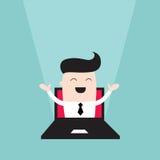 Бизнесмен скача из монитора компьтер-книжки Иллюстрация штока