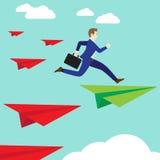 Бизнесмен скача к зеленой книге Ракете иллюстрация вектора