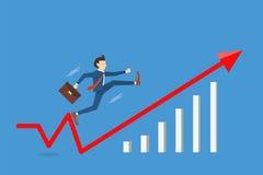 Бизнесмен скача к успеху с быстрой, концепции успеха прорыва дела, иллюстрации вектора Стоковая Фотография RF