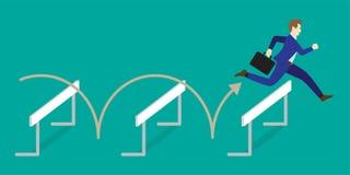 Бизнесмен скача над барьерами бесплатная иллюстрация