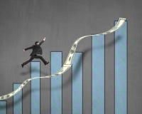 Бизнесмен скача на растущую тенденцию денег с диаграммой на стене Стоковое Изображение