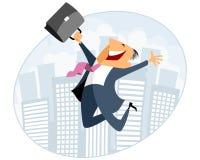 Бизнесмен скача с случаем Стоковое Изображение