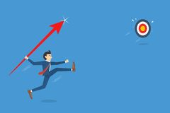 Бизнесмен скачет бросая копье для нацеливания, концепция успеха прорыва дела, иллюстрация вектора Стоковое Изображение RF